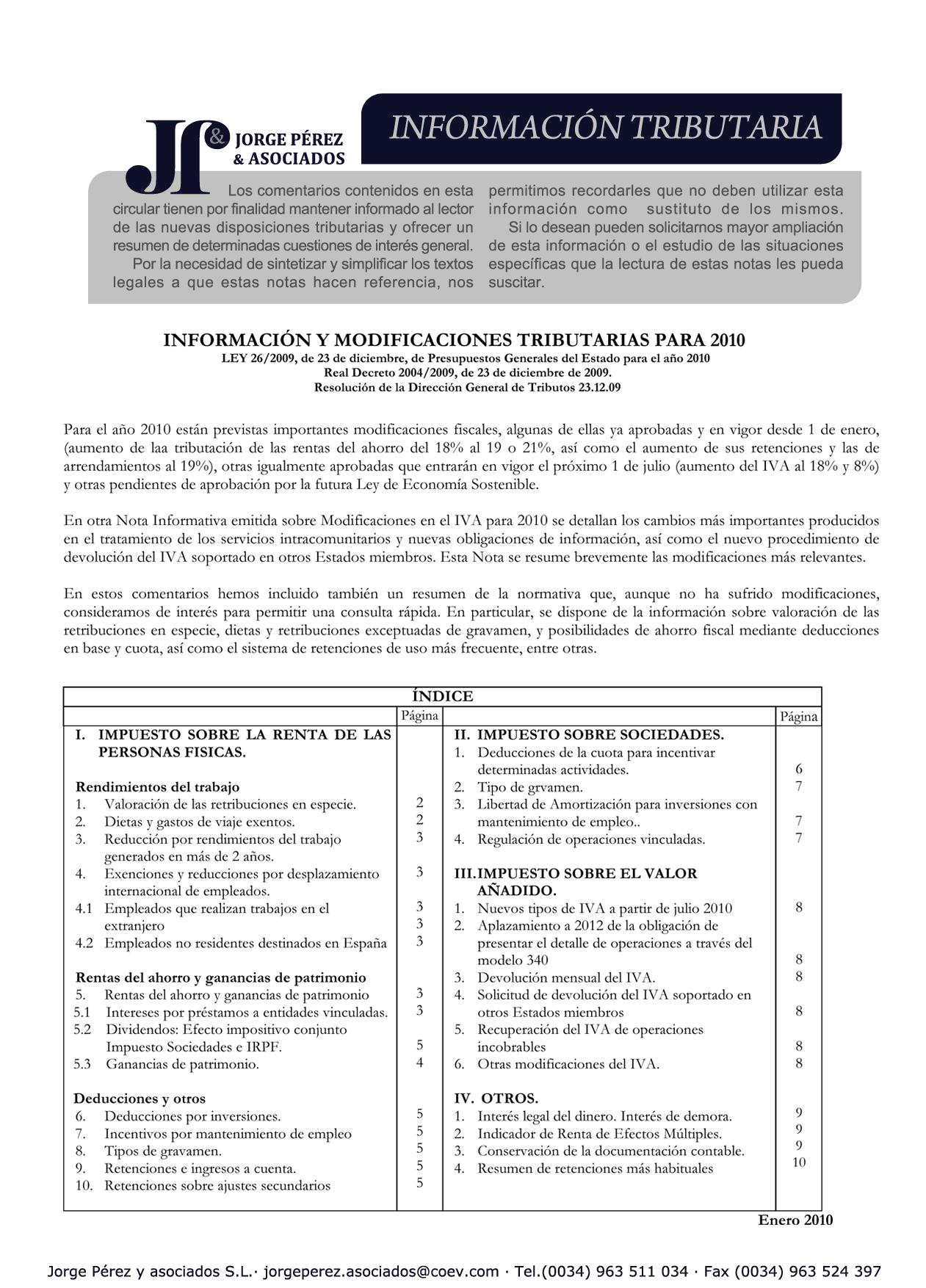 Despacho Jorge Pérez y asociados. Asesoría fiscal, económica ...